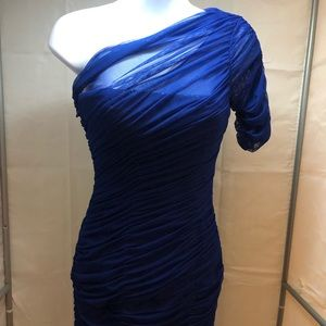 Blue Body Fitting One Shoulder Coctail Dress
